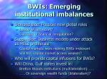 bwis emerging institutional imbalances