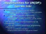 opportunities for un dp can we link