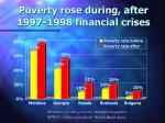 poverty rose during after 1997 1998 financial crises