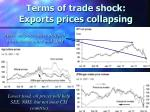 terms of trade shock exports prices collapsing