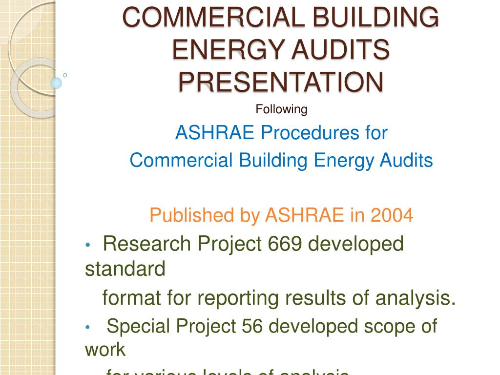 PPT - COMMERCIAL BUILDING ENERGY AUDITS PRESENTATION PowerPoint