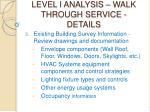 level i analysis walk through service details24
