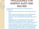 procedures for energy audit and anlysis