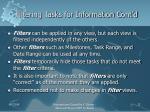 filtering tasks for information cont d