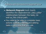 working with the network diagram view