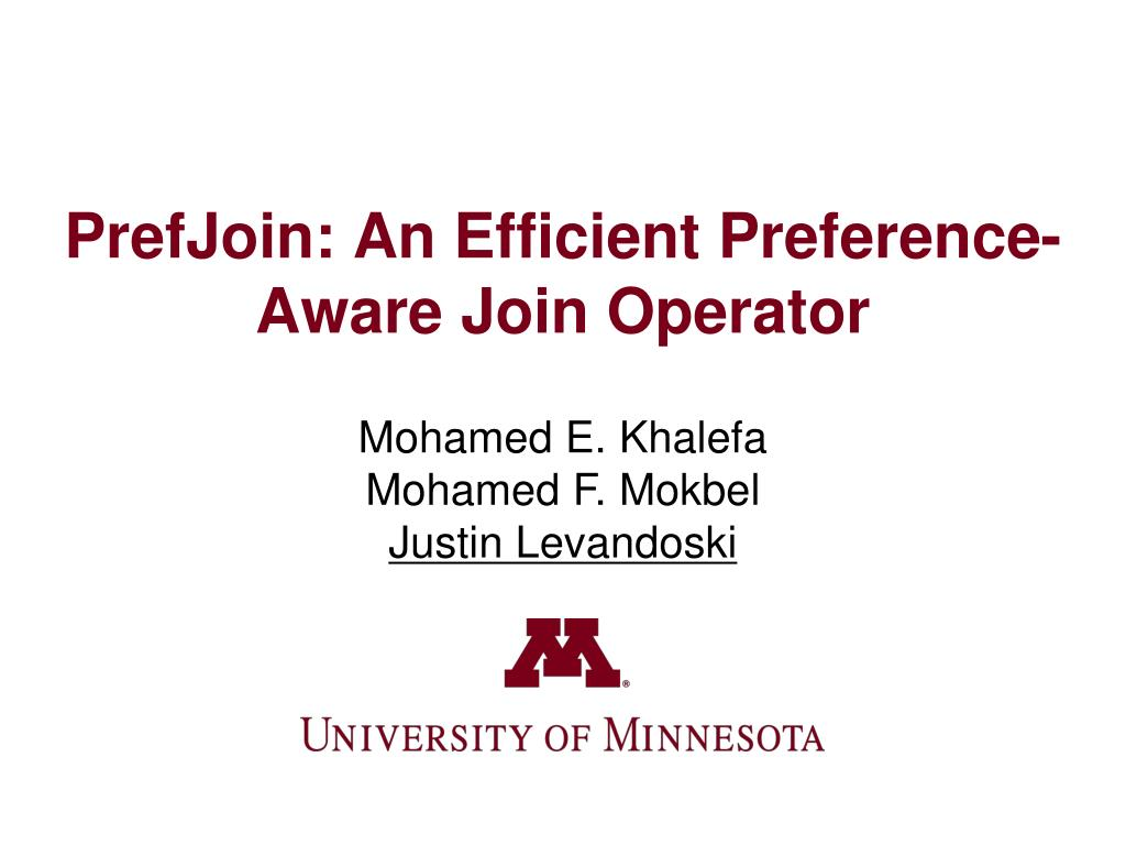 prefjoin an efficient preference aware join operator l.