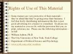 rights of use of this material