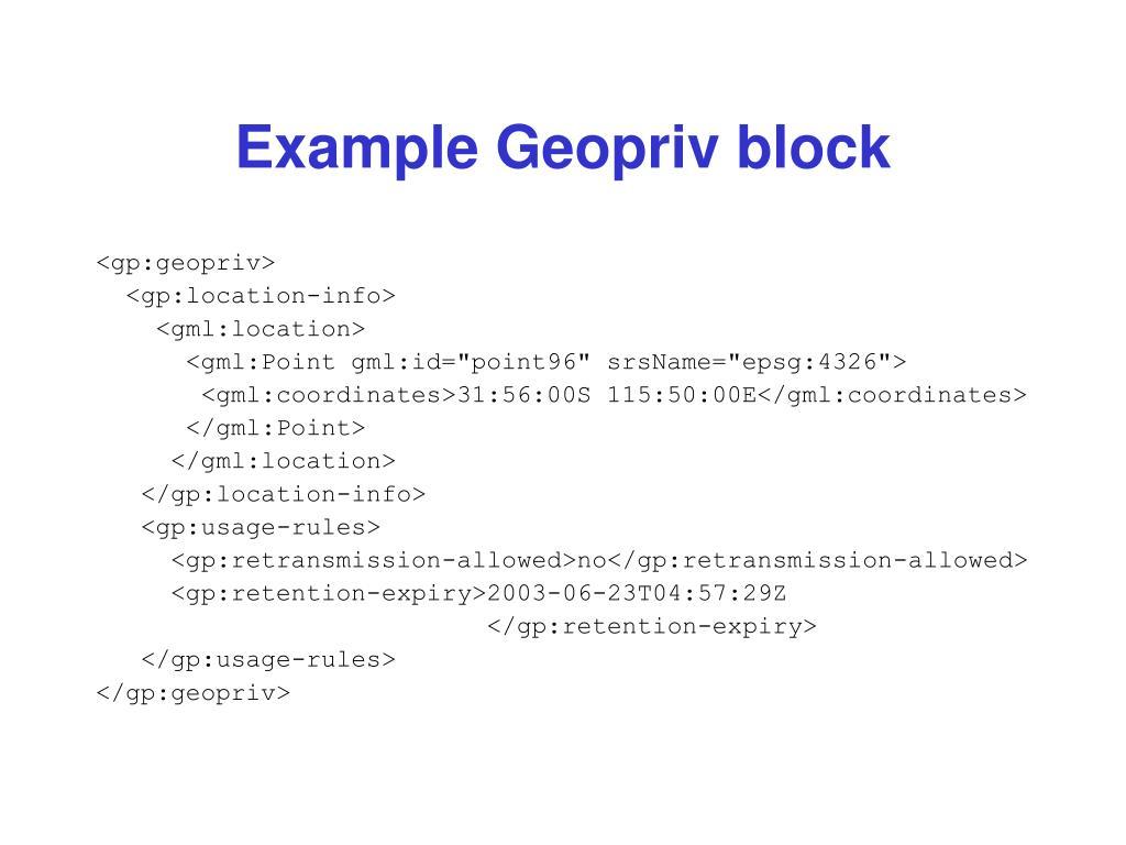 Example Geopriv block