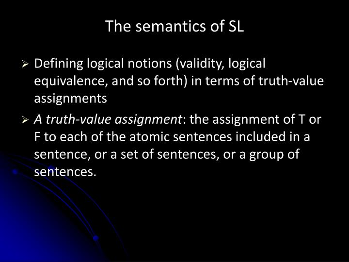 the semantics of sl n.