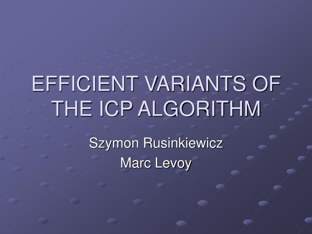 efficient variants of the icp algorithm l.