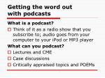 getting the word out with podcasts
