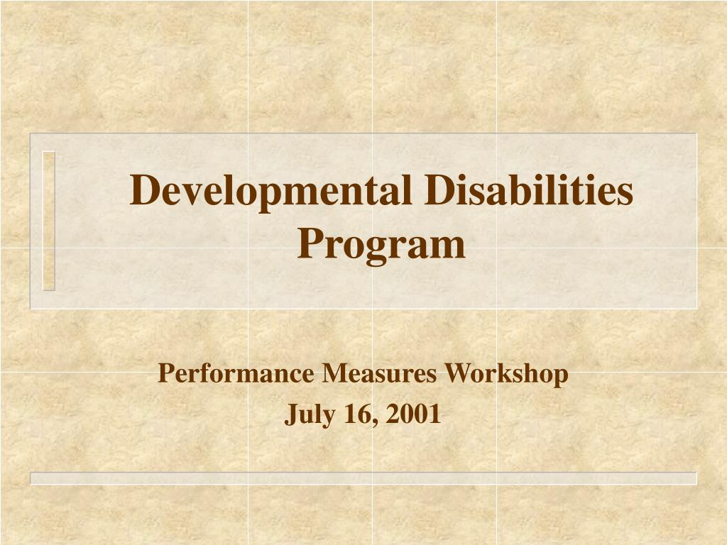 developmental disabilities program l.