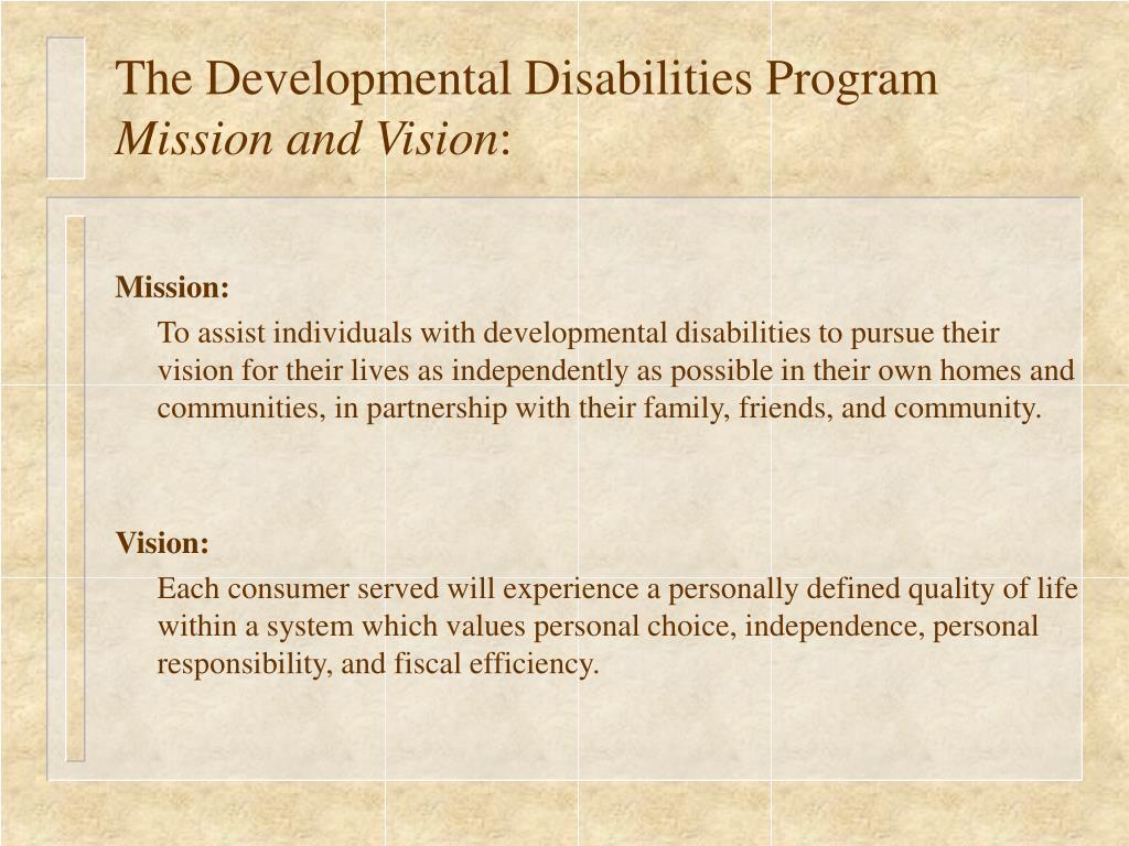 The Developmental Disabilities Program