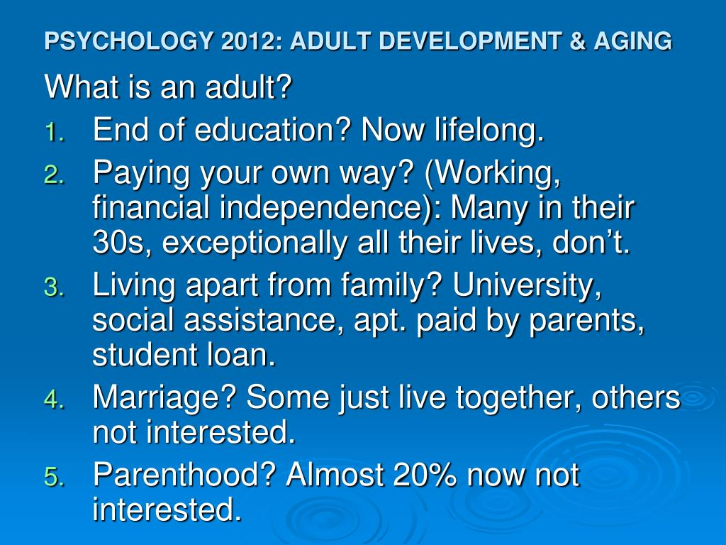 psychology 2012 adult development aging l.