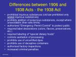 differences between 1906 and 1938 acts the 1938 act