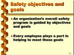 safety objectives and goals