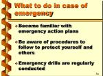 what to do in case of emergency