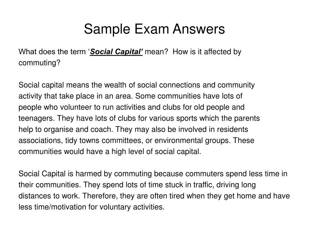 Sample Exam Answers