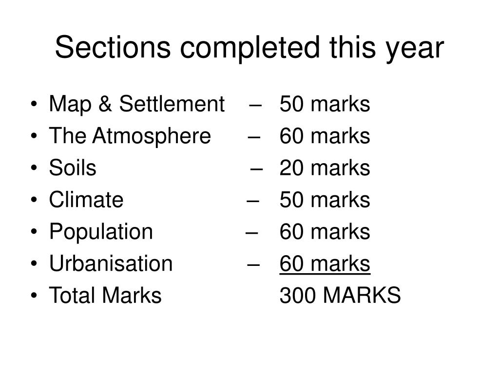 Sections completed this year