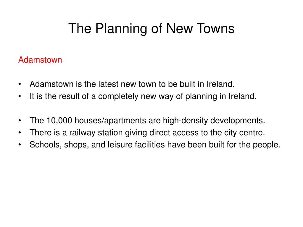 The Planning of New Towns