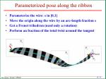 parameterized pose along the ribbon