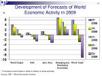 development of forecasts of world economic activity in 2009