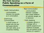 why public speaking public speaking as a form of communication