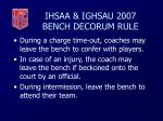 ihsaa ighsau 2007 bench decorum rule41
