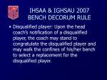 ihsaa ighsau 2007 bench decorum rule45