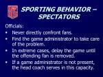sporting behavior spectators
