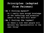 principles adapted from feinman