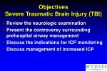 objectives severe traumatic brain injury tbi