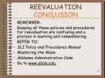 reevaluation conclusion