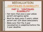 reevaluation continued eligibility