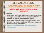 reevaluation continued eligibility81