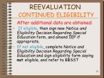 reevaluation continued eligibility82