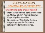 reevaluation continued eligibility83