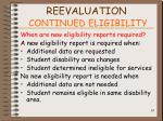 reevaluation continued eligibility84