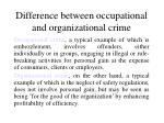 difference between occupational and organizational crime