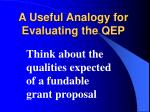 a useful analogy for evaluating the qep