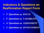 indicators questions on reaffirmation report form
