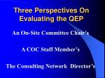 three perspectives on evaluating the qep