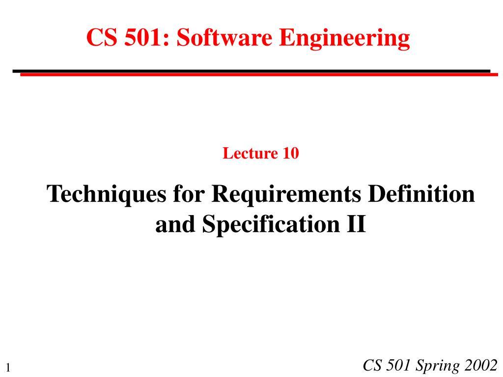 cs 501 software engineering l.