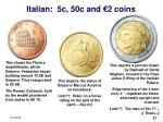 italian 5c 50c and 2 coins