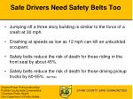 safe drivers need safety belts too