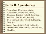 factor ii agreeableness