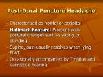 post dural puncture headache