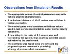 observations from simulation results