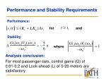 performance and stability requirements