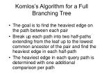 komlos s algorithm for a full branching tree
